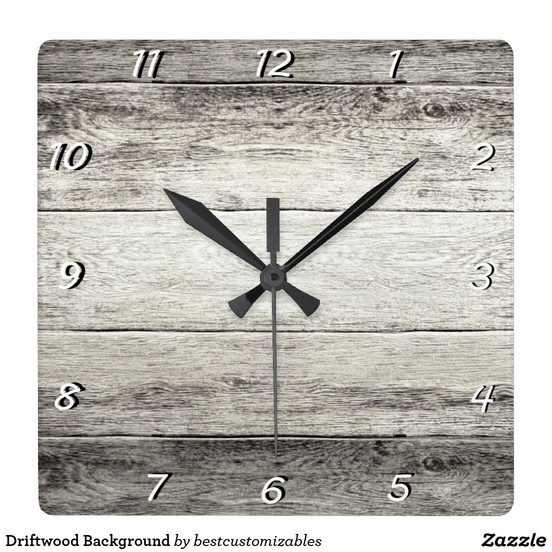 Driftwood background square wall clock clocks pinterest driftwood background square wall clock amipublicfo Image collections
