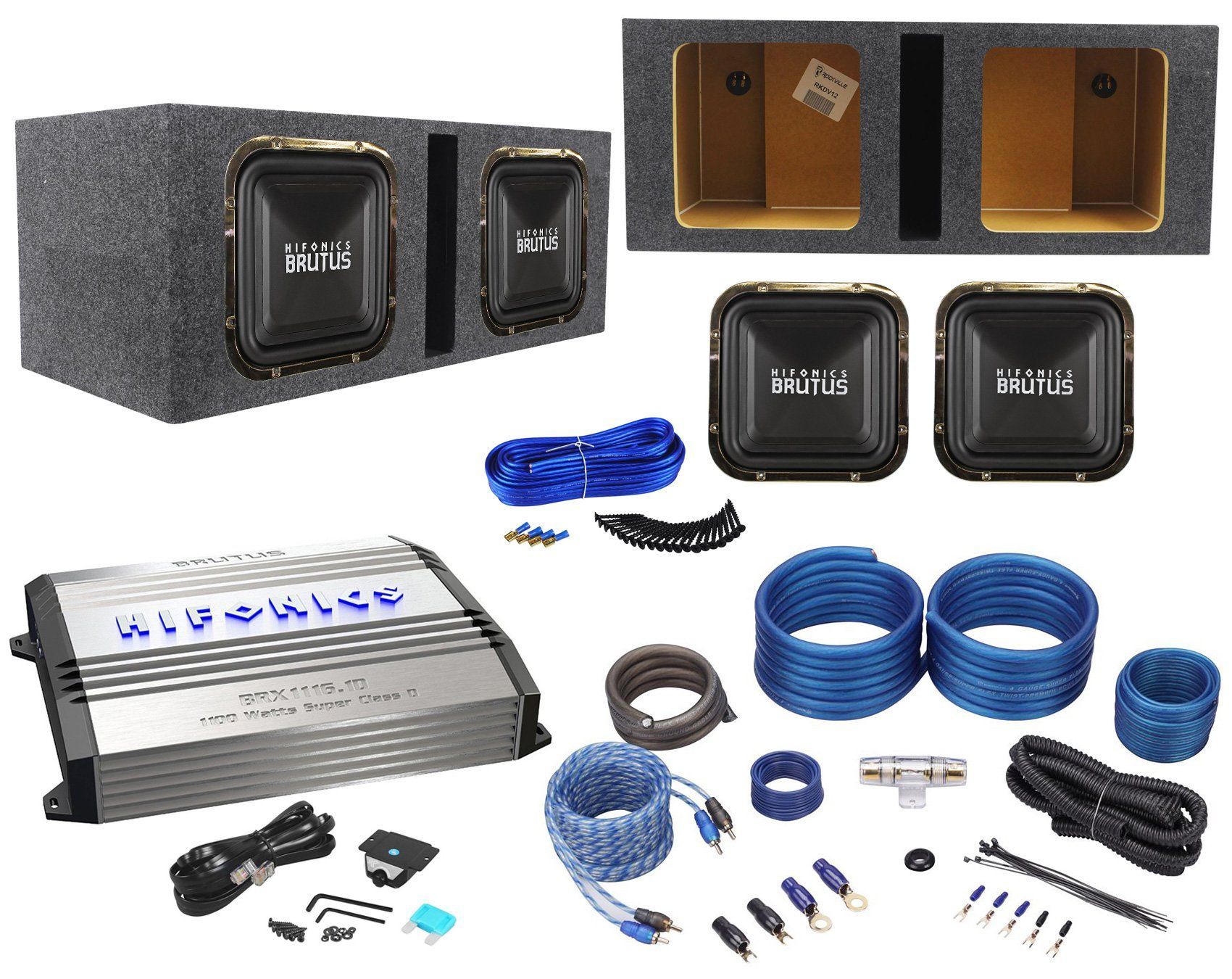Package 2 Hifonics Brz12sqd4 12 Dual 4 Ohm Square Design Car Amplifier Wiring Kit Audio Subwoofers Totaling 2400w Class D Mono Wire W Rca Cables