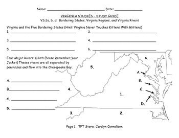 VS.2 a-c Virginia Stus~Regions, Bordering States ... Sample Map Test For Nd Grade on time test for 2nd grade, geography test for 2nd grade, graph test for 2nd grade, map test for kindergarten, map test for geography, art test for 2nd grade,