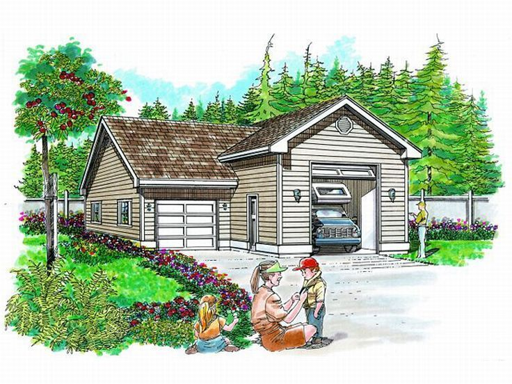 033G0017 RV Garage Plan with Attached 1Car Garage – Garage Plans With Rv Storage