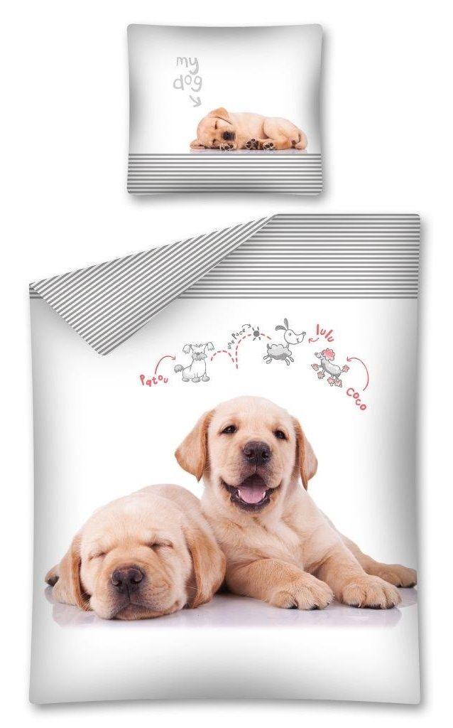 Detské posteľné obliečky bielej farby s maličkými psami