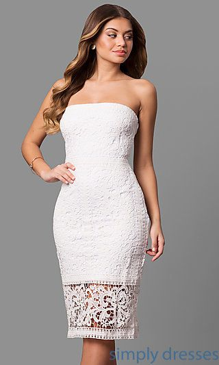 7963d56f60 Shop short white lace graduation dresses at Simply Dresses. Cheap party  dresses under  100 with see-through midi hemlines and strapless necklines.