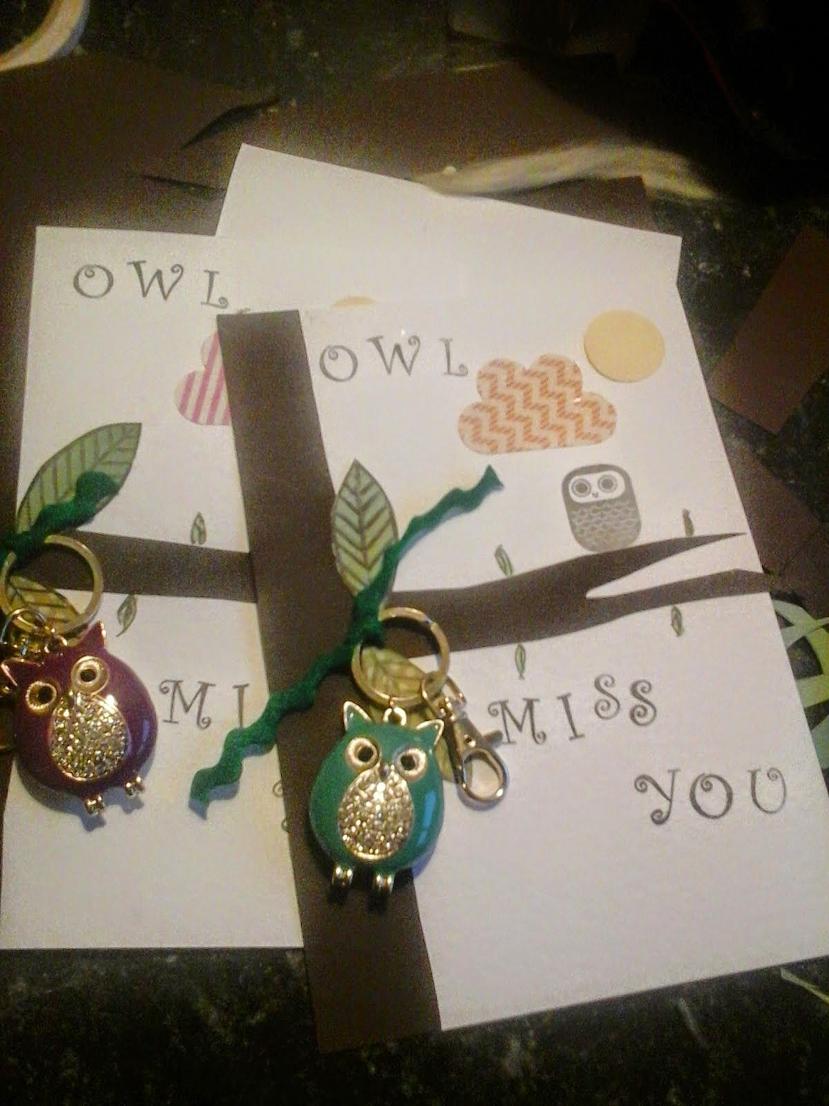 Teachers gifts using owl keyrings.