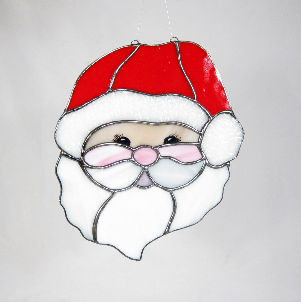 Santa Face Stained Glass Christmas Stained Glass Ornaments Stained Glass Patterns