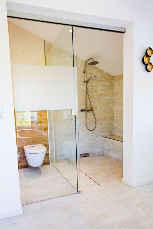 Fertighaus - Wohnidee Badezimmer #Haus #Fertighaus #Badezimmer - schiebetüren für badezimmer