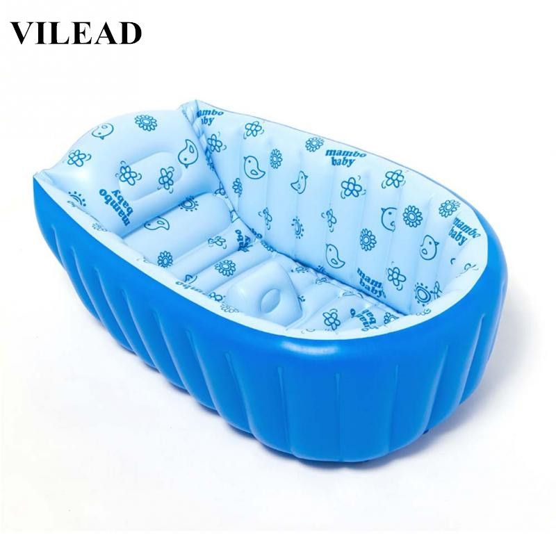 VILEAD 3 Colors PVC Portable Inflatable Baby Shower Tub Large Size ...