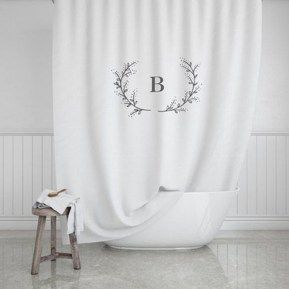 Monogram Shower Curtain Modern Farmhouse Bathroom Decor Laurel
