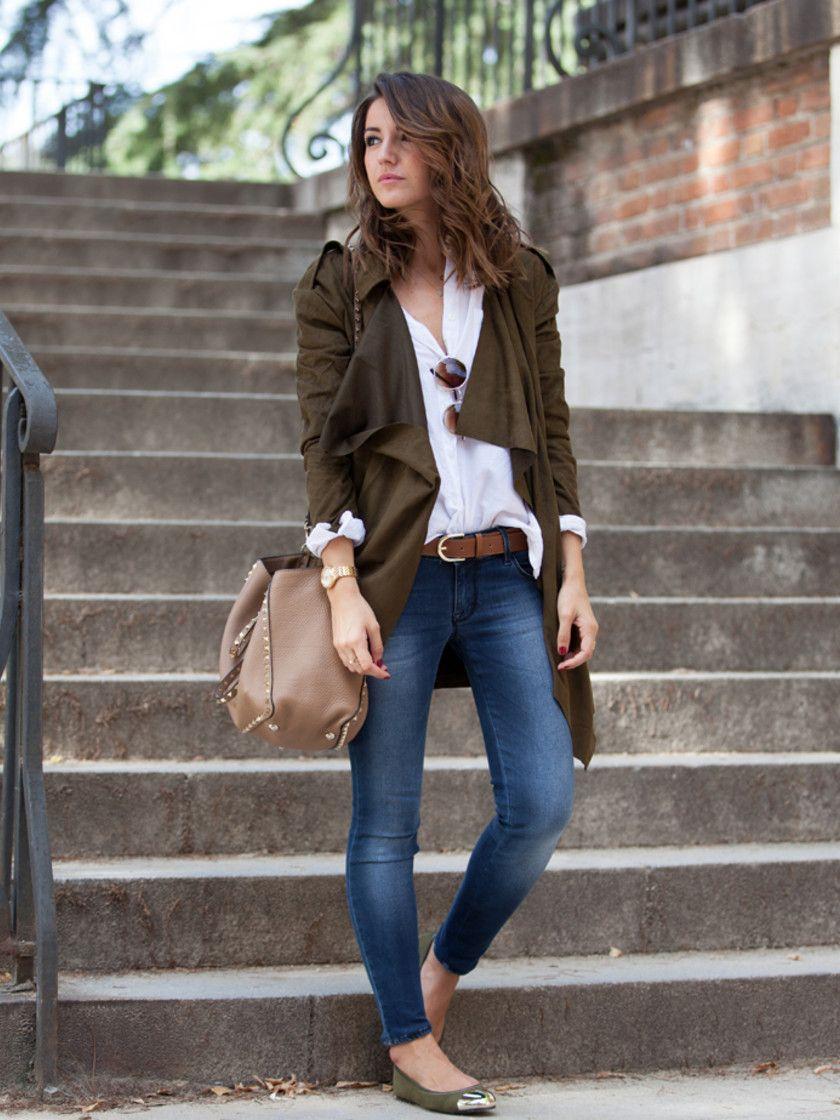 f r die etwas w rmeren tage im herbst passt dieses outfit perfekt skinny jeans ballerinas. Black Bedroom Furniture Sets. Home Design Ideas