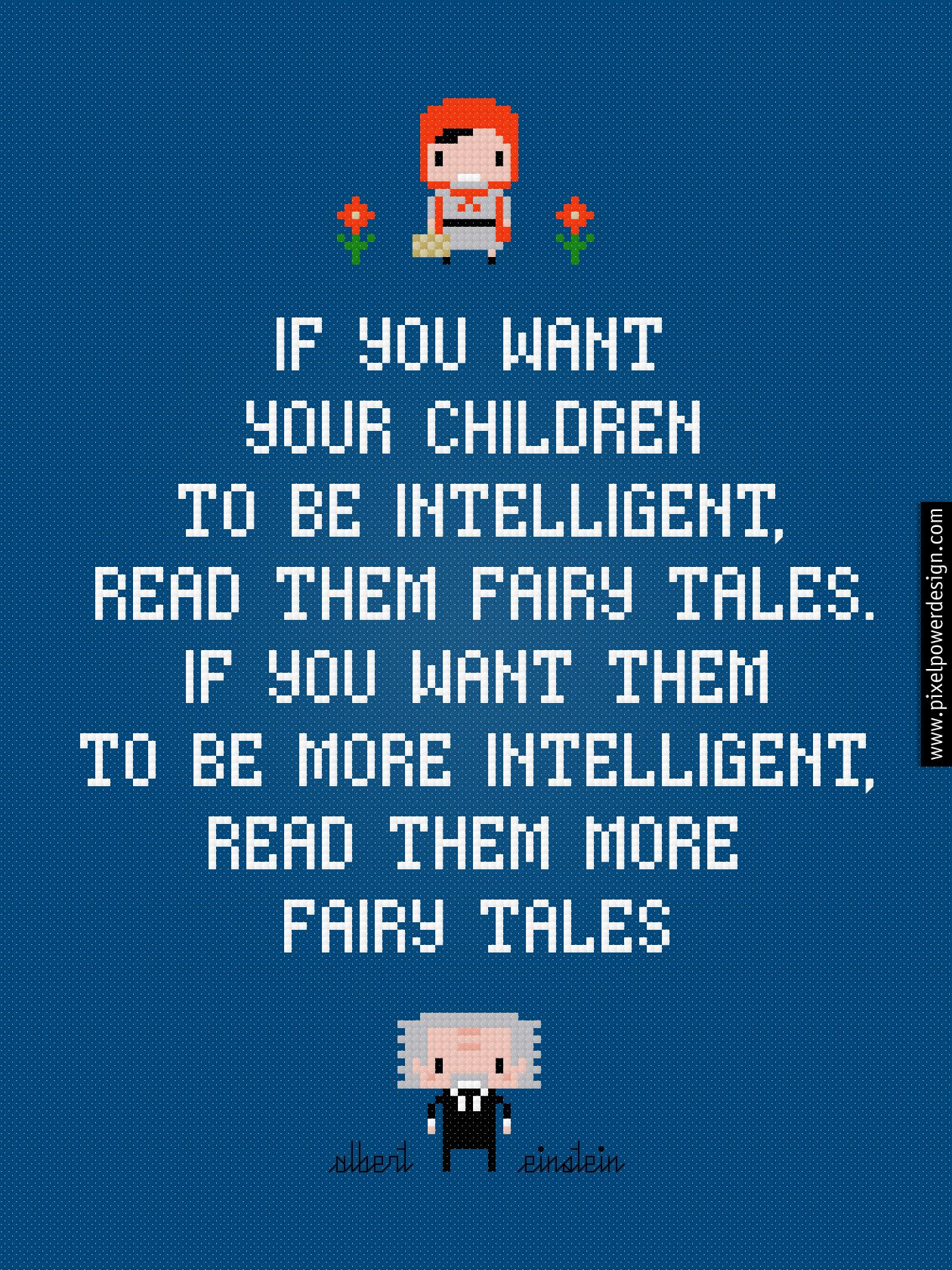 Fairy tales albert einstein quote pixelpower amazing cross