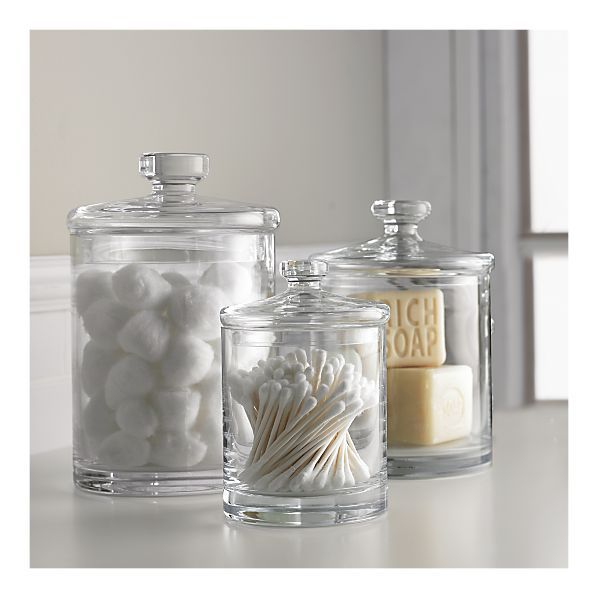 Glass canisters for bathroom storage   again  don t have to be exact. Glass canisters for bathroom storage   again  don t have to be