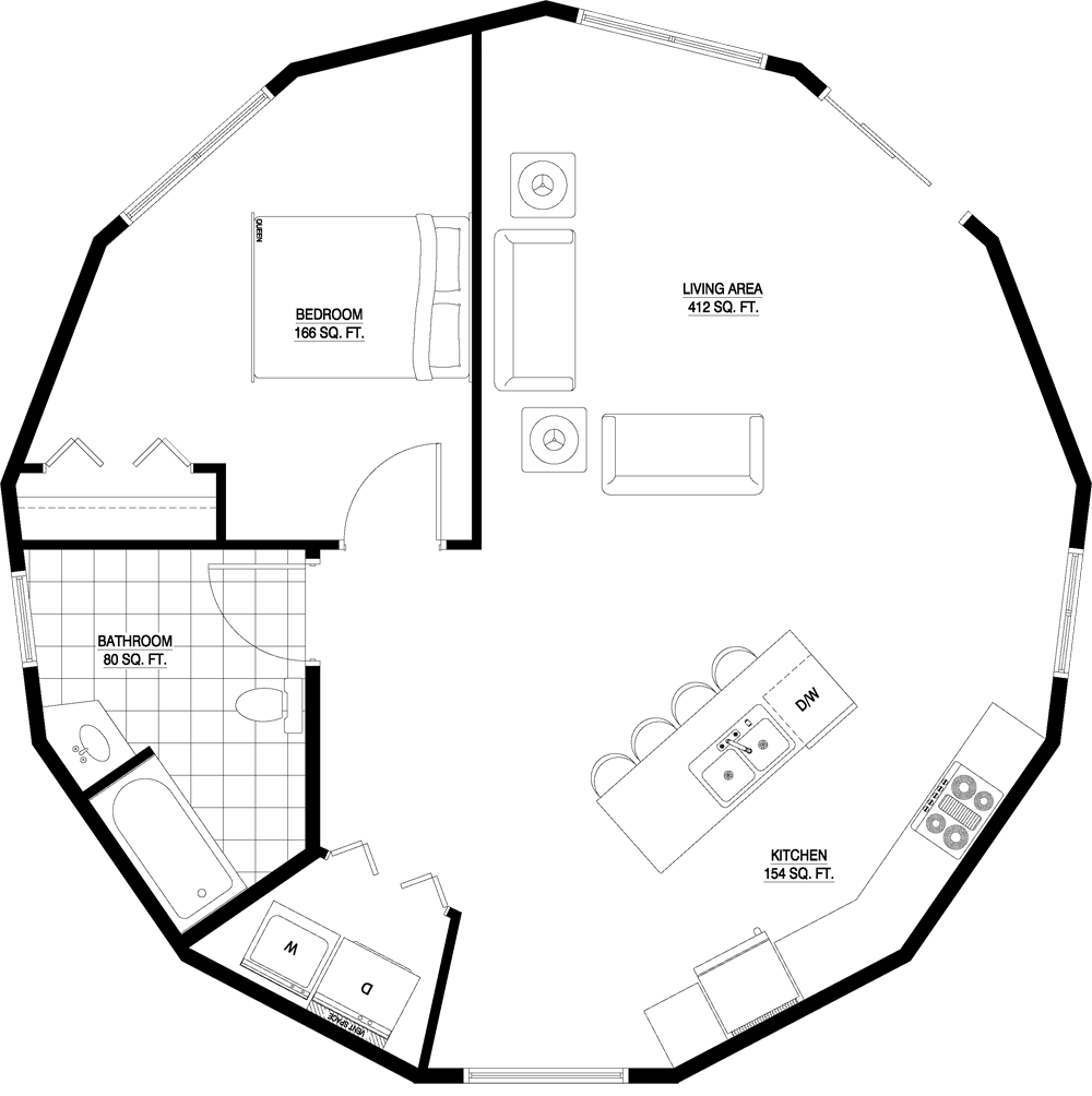 Layouts For Dome Homes Plans: Floorplan 1 Story Augusta 876 Sq. Feet, Plan Number 900-1