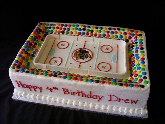 Blackhawks Stadium For Drew Hockey Hockey Birthday Cake Hockey Cakes Hockey Birthday