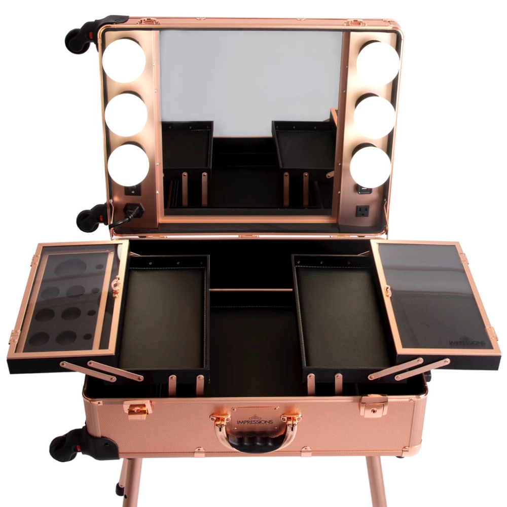 SlayCase® Pro Vanity Travel Train Case with Stand in Rose