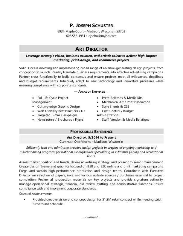 Art Director Resume Sample Sample resume, Art director and - art director resume