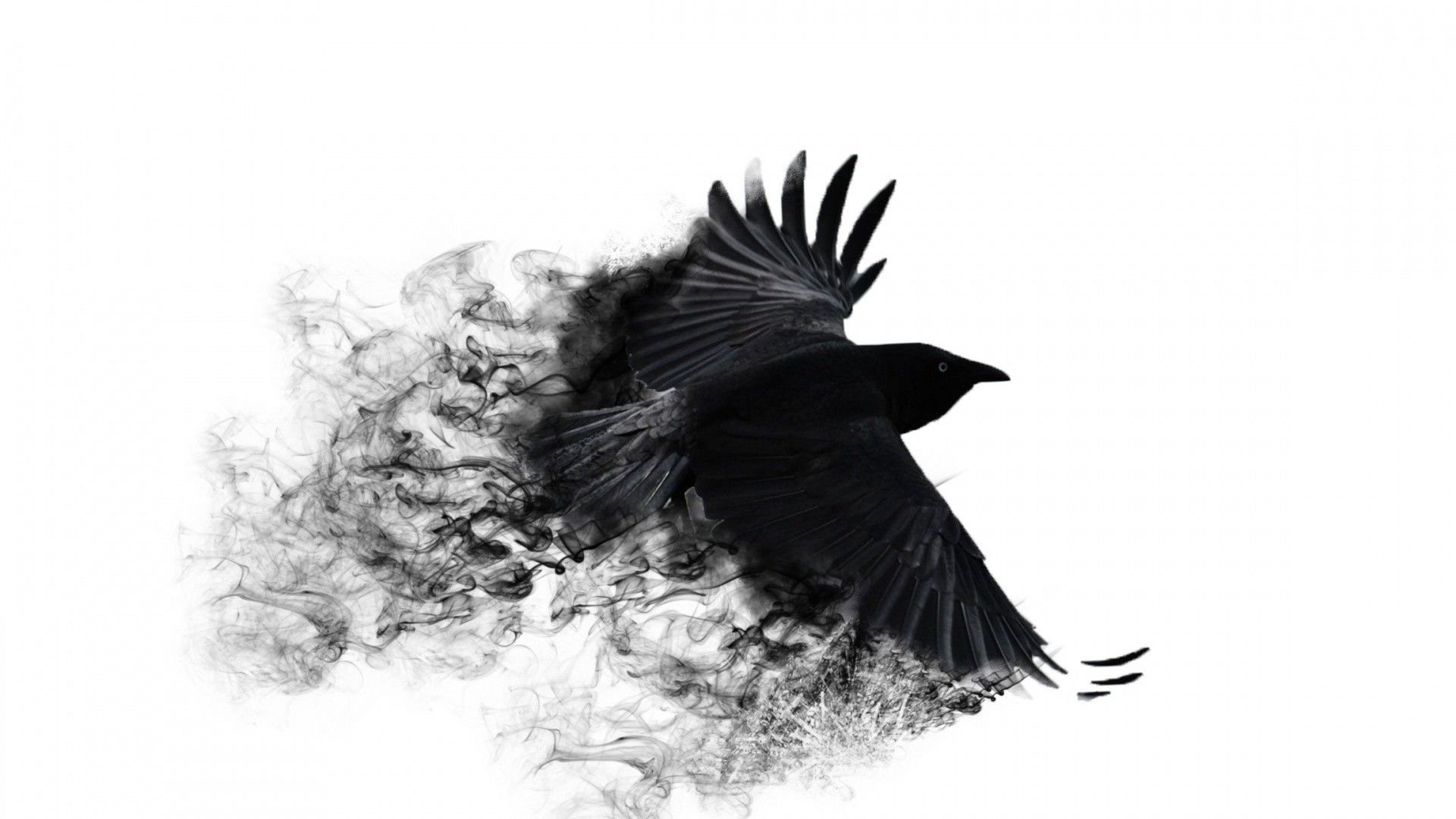 Abstract black crow with broken wings. Abstract Wallpapers