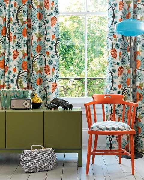 Exceptional Orange Blue And Green Qindow Curtains And Room Furniture