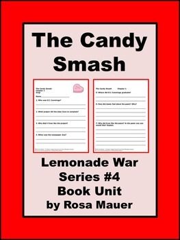 The Candy Smash by Jacqueline Davies: Reading comprehension questions and answers for the teacher are given for this fourth book in the Lemonade War series. You will also receive a matching game with the words and definitions presented throughout the book.