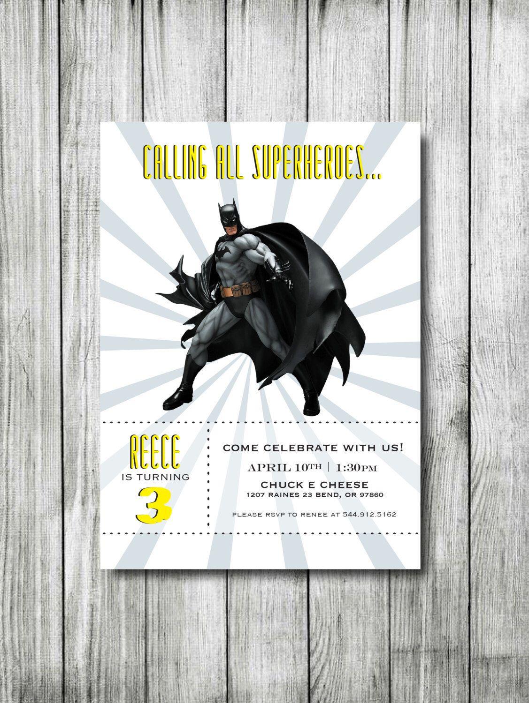 Batman Birthday Invitation - Superheroes Birthday Invitation ...