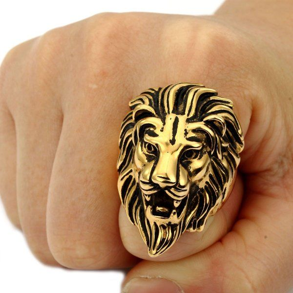 c3c3c0f28a Trendsmax Retro Mens 316L Stainless Steel Roaring Lion King Ring Engraved  Carved Gold Tone