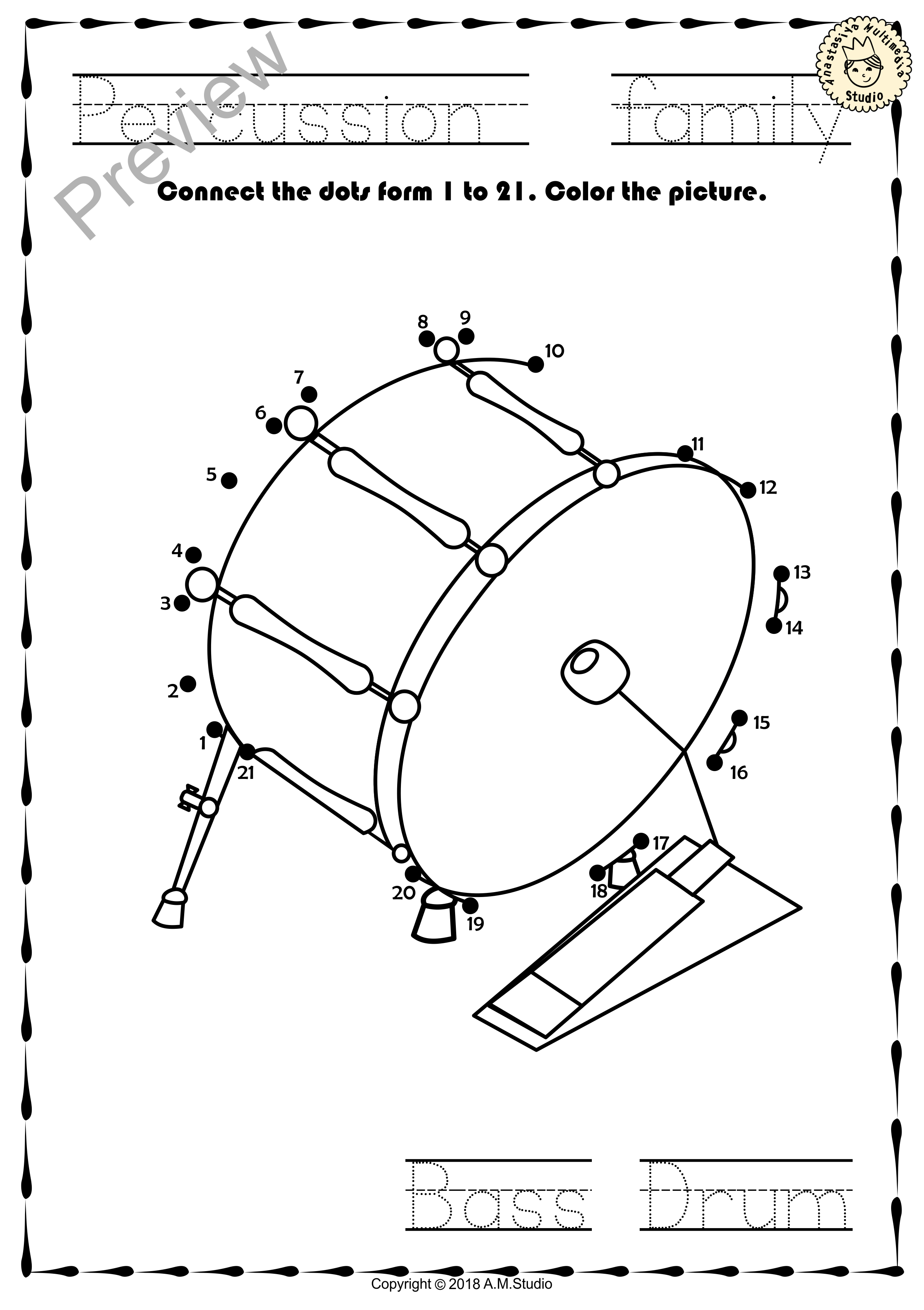 Worksheets Instrument Worksheets percussion instruments dot to worksheets this file in pdf form contains 13