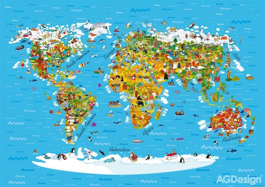 Ctyrdilna Obrazova Fototapeta Mapa Sveta Fts 1320 Rozmer 360 X 254cm