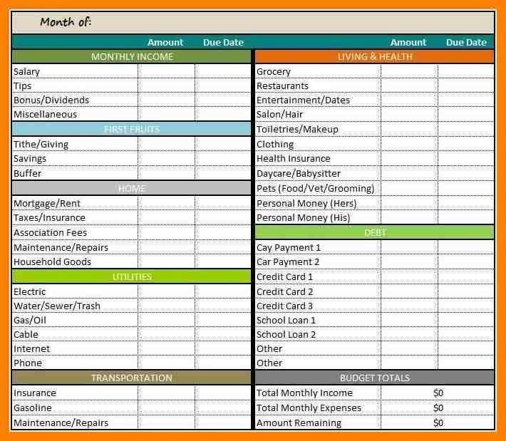 excel spreadsheet template for bills
