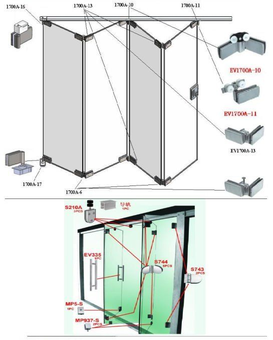 Stainless Steel Glass Folding Door Fitting Or Glass Door Accessories Portas Deslizantes De Vidro Portas Sanfonadas Portas De Correr