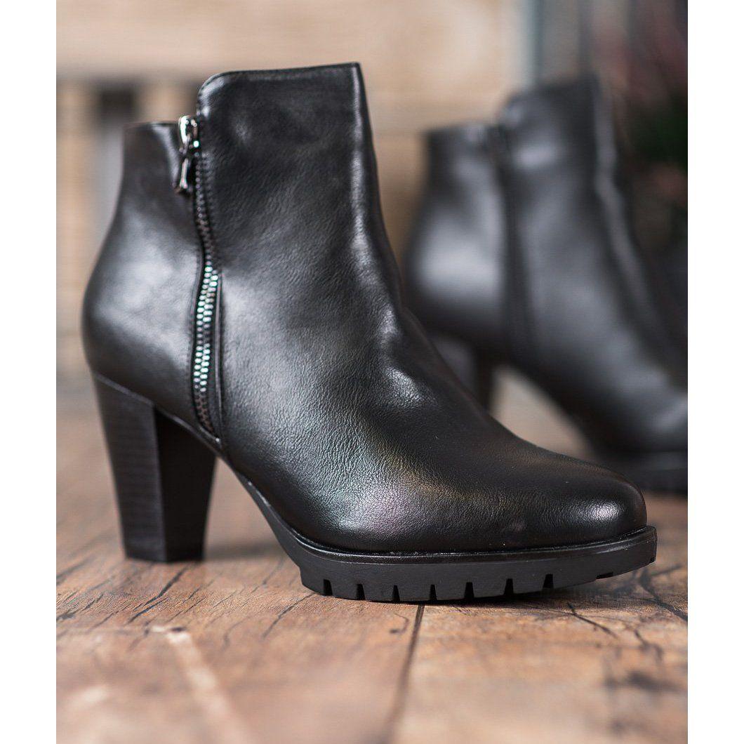 Anesia Paris Eleganckie Botki Z Eko Skory Czarne Ankle Boot Boots Shoes