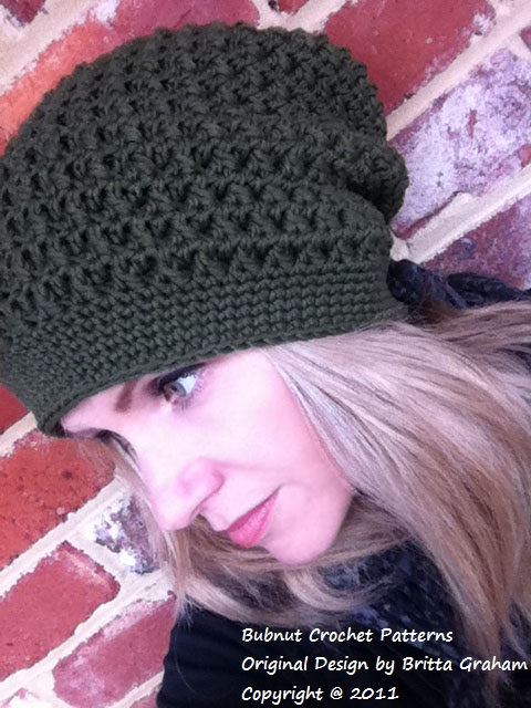 Slouchy hat pattern / textured slouchy beanie crochet pattern No.209 ...