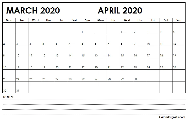 March And April Calendar 2020 With Notes In 2020 Calendar Printables Calendar March Calendar