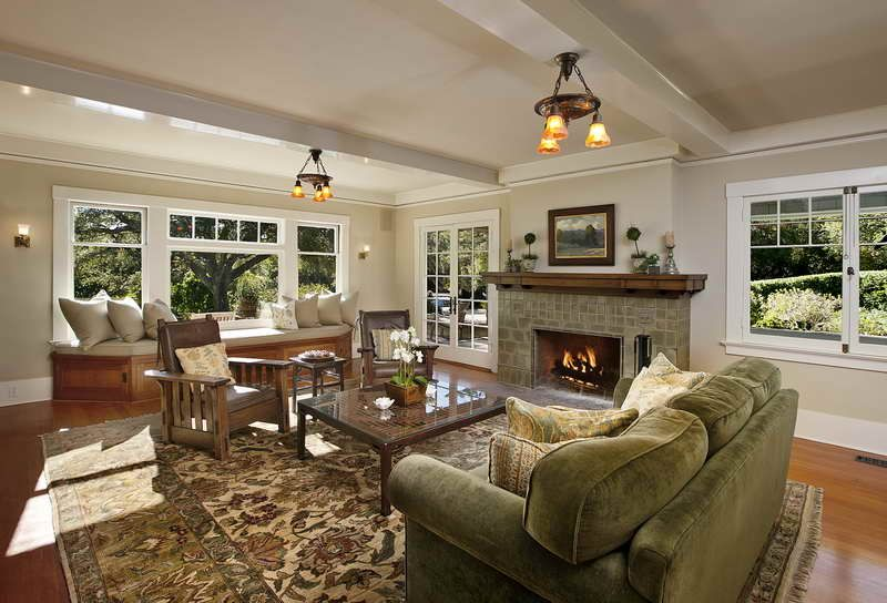 Awesome craftsman style interiors for home inspiration adorable living room interior design finished with large fireplace combined with craftsman style
