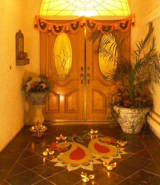 Diwali Decoration Lights Home: Beautiful Rangoli Design!