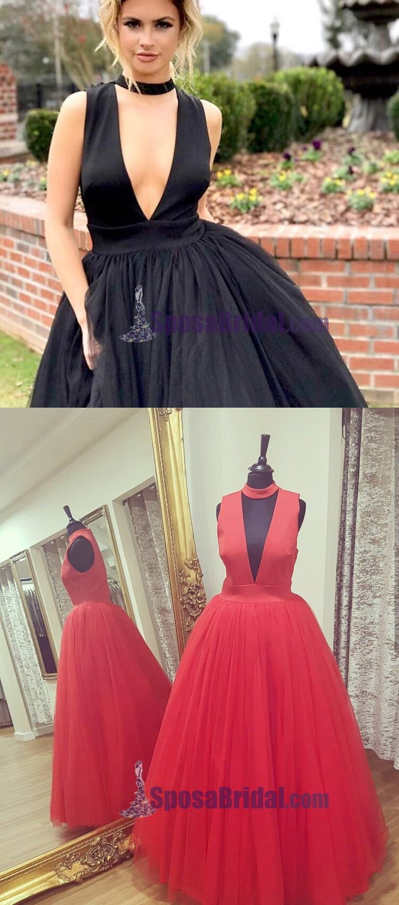 Black and Red Tulle Prom Dresses