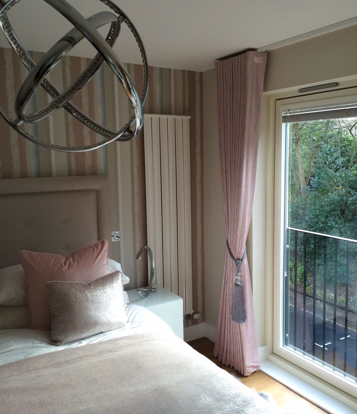 custom made upholstered and studded headboard and bed bespoke