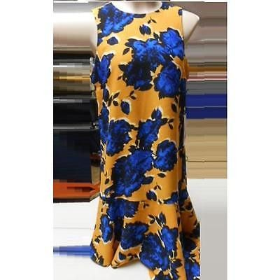 Who What Wear Women's Sleeveless Asymmetrical Hem Dress, Gold/Blue, Small