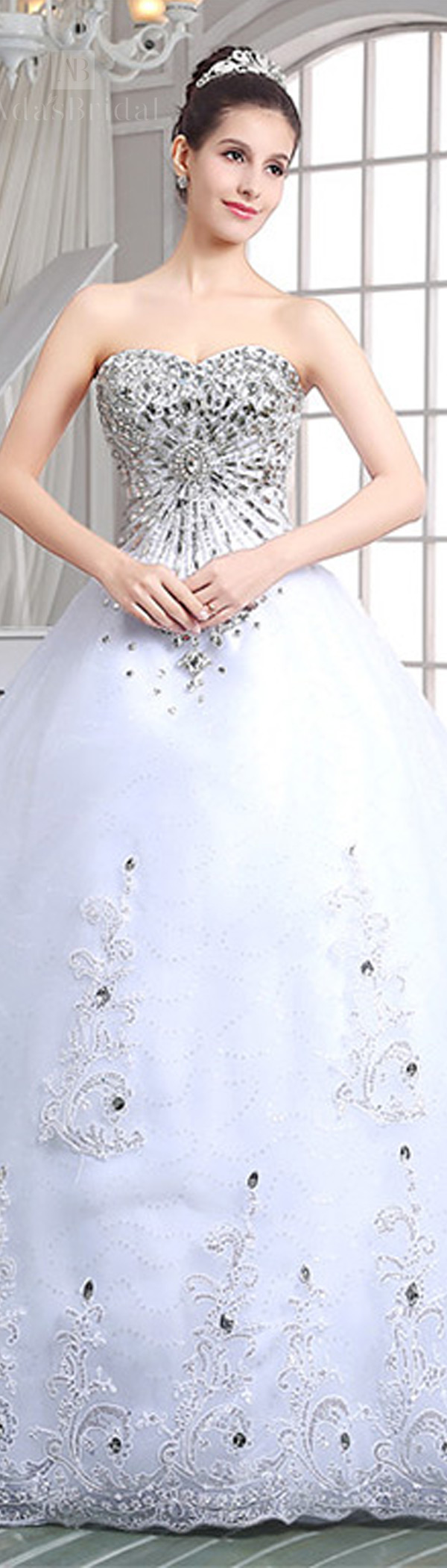 In stock luxury tulle sweetheart neckline ball gown wedding dresses