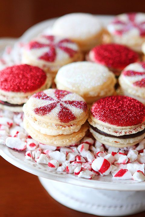 Sparkly Vanilla Bean Macarons with Three Christmas Inspired Frostings from @Kevin and Amanda