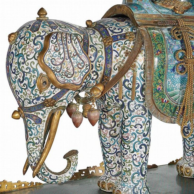 Pair of Massive Chinese Cloisonne Elephants - by Doyle New York #asiaweek