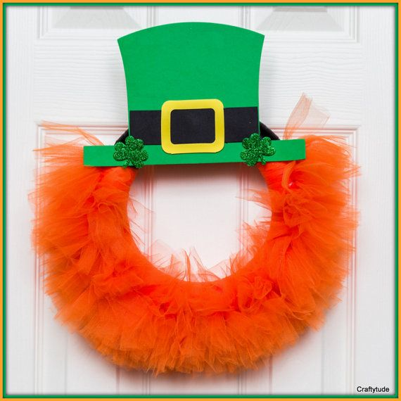 St. Patrick's Day Tulle Wreath by Craftytude on Etsy, $28.00
