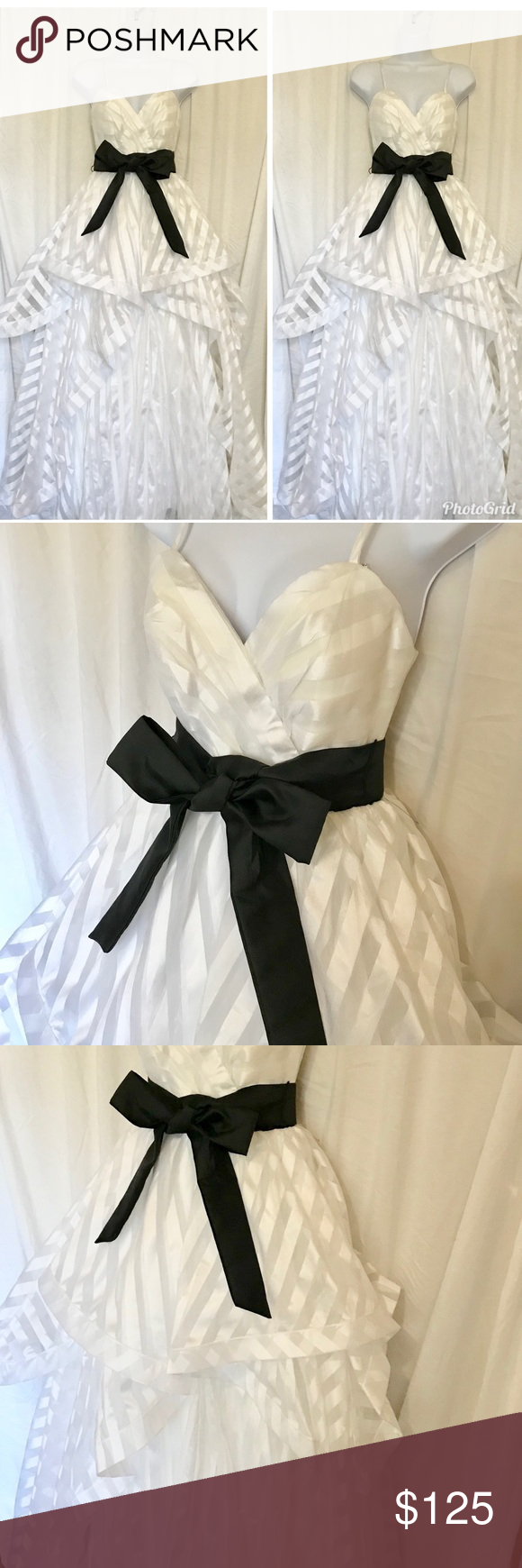 Xtraordinary white gown with black sash size white gown with