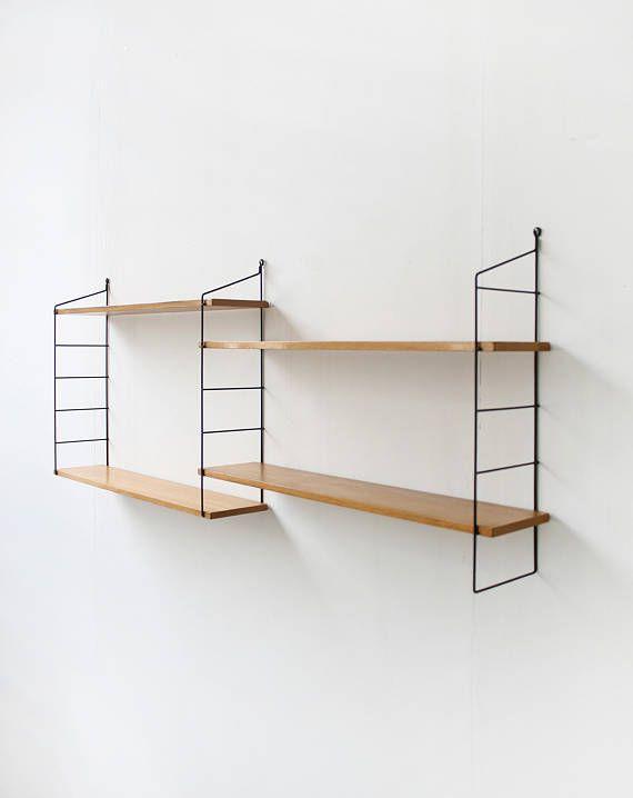 Regal Modern vintage wooden string shelves ladder storage wall unit regal