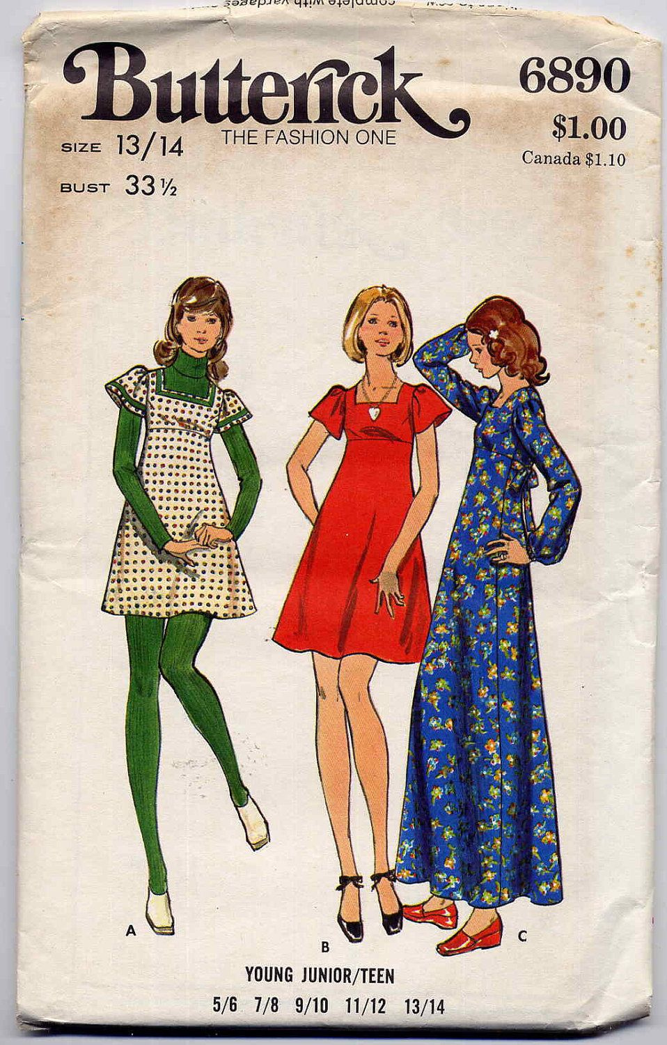 013946ec7d2 Sweet 70's Flared Empire Baby Doll Dress with Square Neckline Mini Maxi  Vintage Sewing Pattern Butterick 6890 --Junior Teen Bust 33.5. $4.00, via  Etsy.