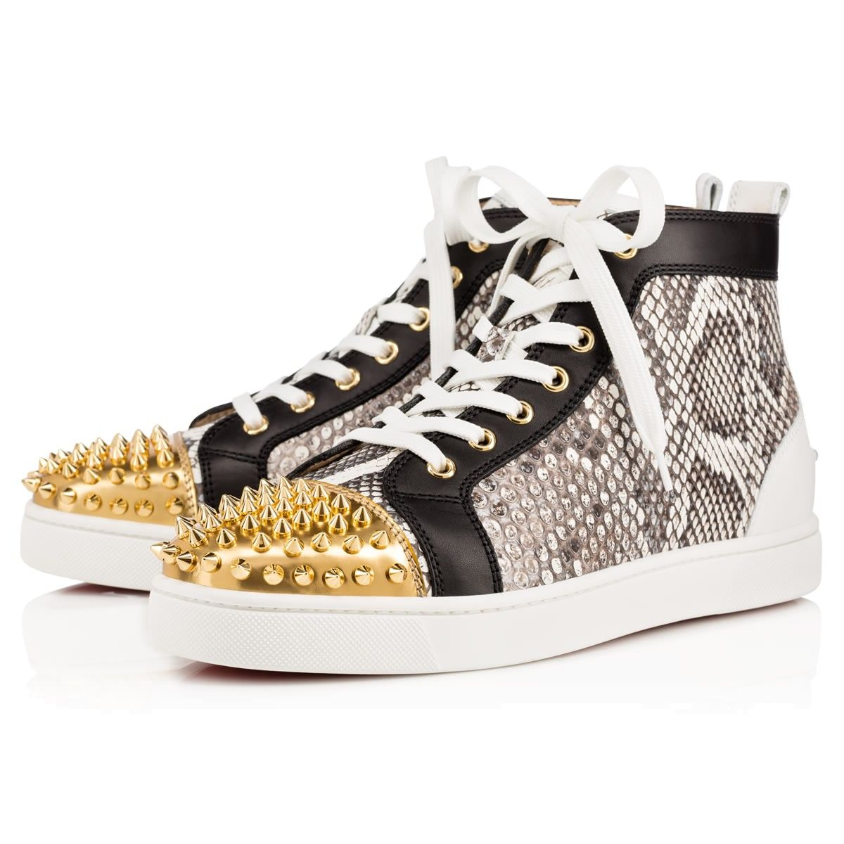 Billig Christian Louboutin Lou Spikes Python Herren High Top