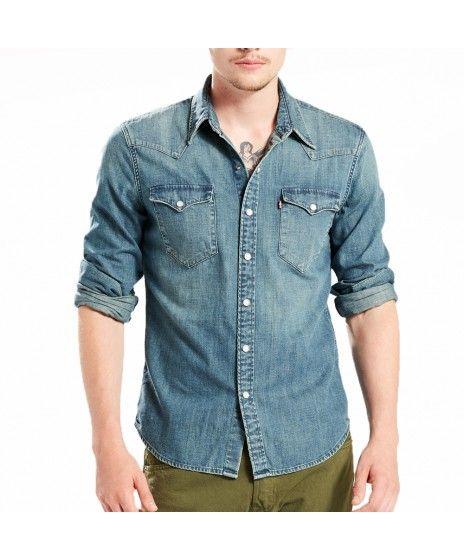 06b5d554 Mens Levis Barstow Western Sandy Tint Mid Long Sleeve Shirt | Levi's ...
