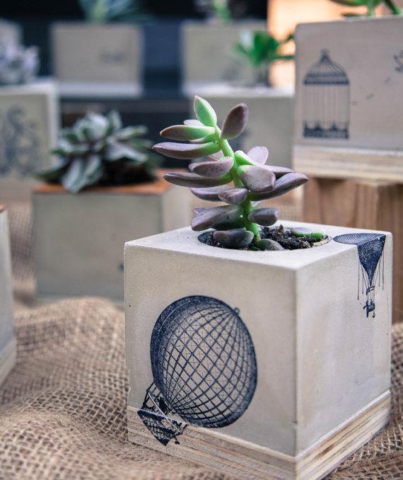 jardinera de hormign globo de aire caliente regalo boda regalo de inauguracin de la casa arte funcional reclamado madera regalo menores de aos