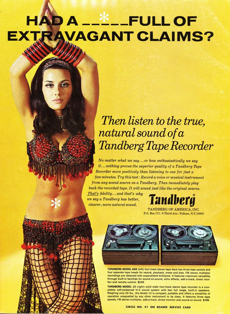 1968 Tandberg ad for the Model 64X and Model 12 reel to reel