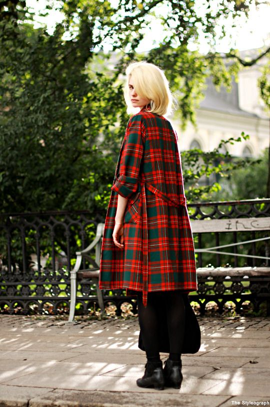 Love the tartan coat!