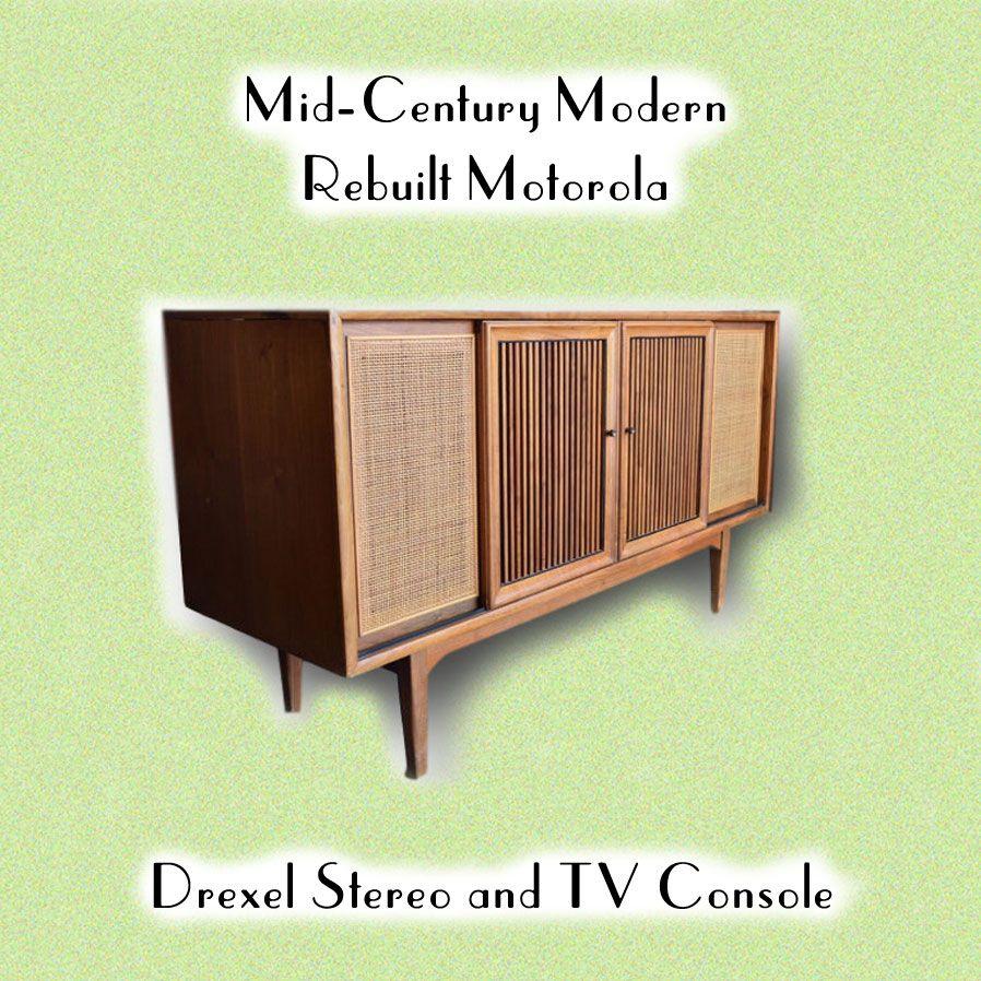 Mid-Century Modern Rebuilt Motorola / Drexel Stereo and TV Console ...