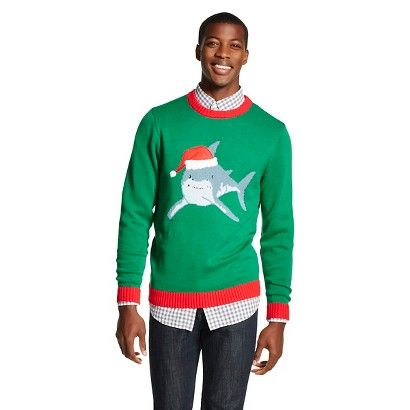 Men's Santa Shark Ugly Christmas Sweater Green - 33 Degrees