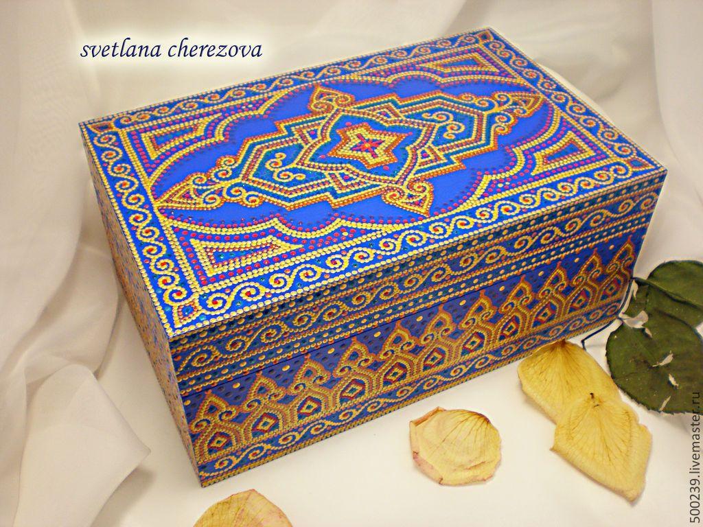 """Купить Шкатулка """"Персия"""" - шкатулка для украшений, шкатулка для мелочей, роспись контурами, точечная роспись"""